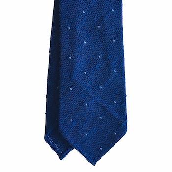Polka Dot Shantung Grenadine Tie - Untipped - Mid Blue/Light Blue
