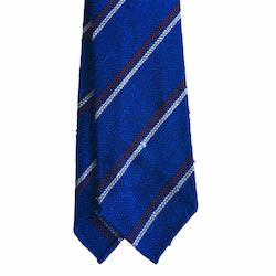 Regimental Shantung Grenadine Tie - Untipped - Royale Blue/Burgundy/White