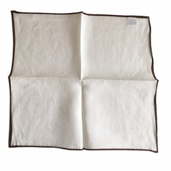 Candy Stripe Linen Pocket Square - White/Brown