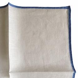 Candy Stripe Linen Pocket Square - White/Light Blue