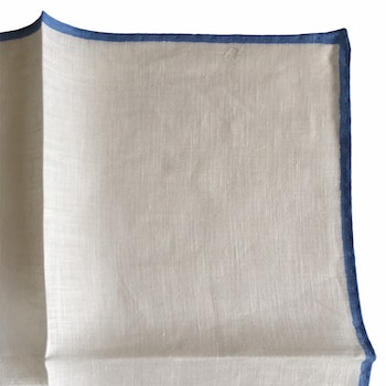 Candy Stripe Linen Pocket Square - White/Light Blue