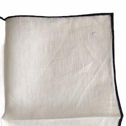Candy Stripe Linen Pocket Square - White/Navy Blue