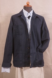 Solid Cotton/Linen Overshirt - Navy Blue