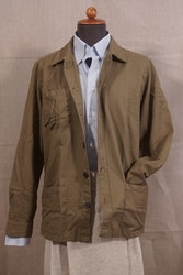 Solid Cotton/Linen Overshirt - Olive Green