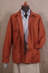 Solid Cotton/Linen Overshirt - Rust