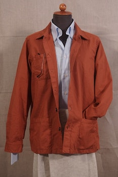 Solid Cotton/Linen Overshirt - Rust