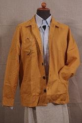 Solid Cotton/Linen Overshirt - Mustard