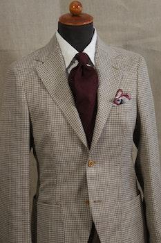 Dogtooth Wool/Linen Jacket - Unconstructed - Beige/Brown