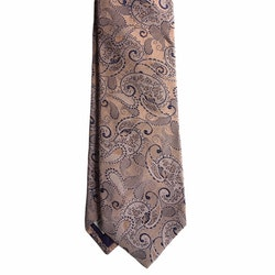 Paisley Silk/Cotton Tie - Apricot/Navy Blue