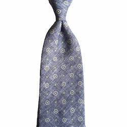 Floral Cotton Tie - Navy Blue/Green