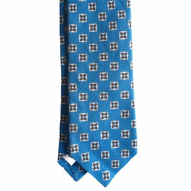 Floral Linen Tie - Turquoise/White/Grey