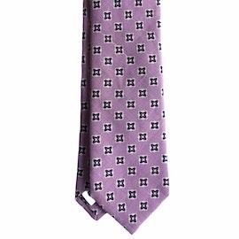 Floral Linen Tie - Light Purple/White/Navy Blue