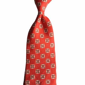 Floral Linen Tie - Red/White/Beige