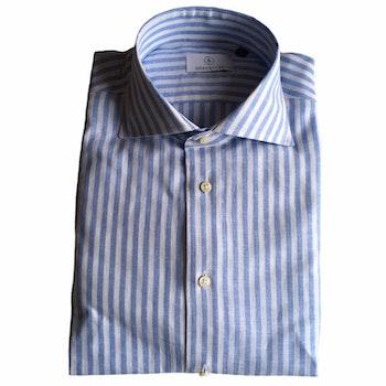 Bengal Stripe Linen/Cotton Shirt - Cutaway - Light Blue/White