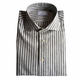 Bengal Stripe Linen/Cotton Shirt - Cutaway - Olive Green/White
