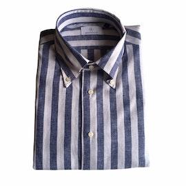 Wide Stripe Linen/Cotton Shirt - Button Down - Navy Blue/White