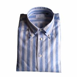 Wide Stripe Linen/Cotton Shirt - Button Down - Light Blue/White