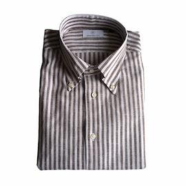Bengal Stripe Linen/Cotton Shirt - Button Down - Brown/White