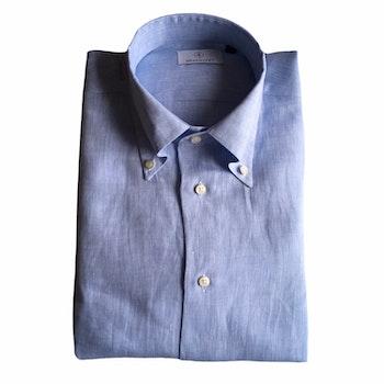 Solid Linen Shirt - Button Down - Light Blue