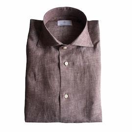 Solid Linen Shirt - Cutaway - Brown
