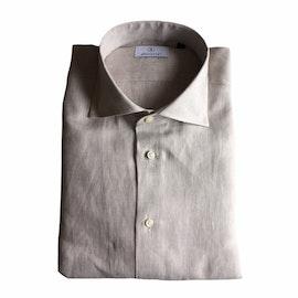 Solid Linen Shirt - Cutaway - Beige