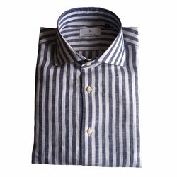 Bengal Stripe Linen Shirt - Cutaway - Navy Blue/White