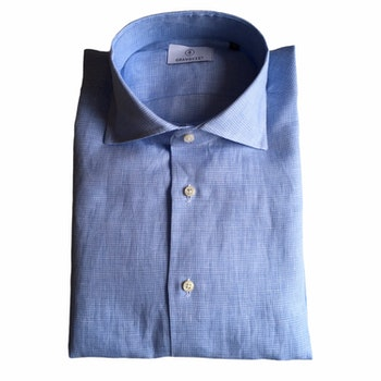 Micro Check Linen Shirt - Cutaway - Light Blue/White