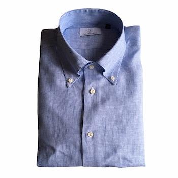 Thin Stripe Linen Shirt - Button Down - Light Blue/White