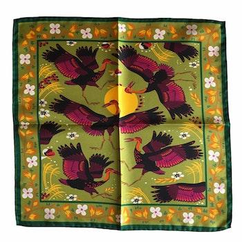 Stork Silk Pocket Square - Green