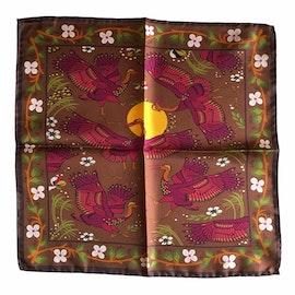 Stork Silk Pocket Square - Brown