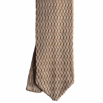Zigzag Solid Knitted Silk Tie - Light Beige