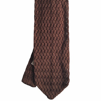 Zigzag Solid Knitted Silk Tie - Light Brown