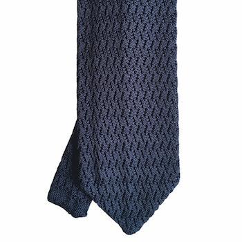 Zigzag Solid Knitted Silk Tie - Light Navy Blue