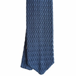 Zigzag Solid Knitted Silk Tie - Light Blue