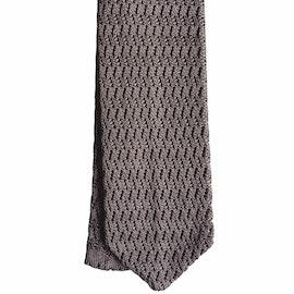 Zigzag Solid Knitted Silk Tie - Grey