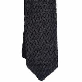Zigzag Solid Knitted Silk Tie - Black