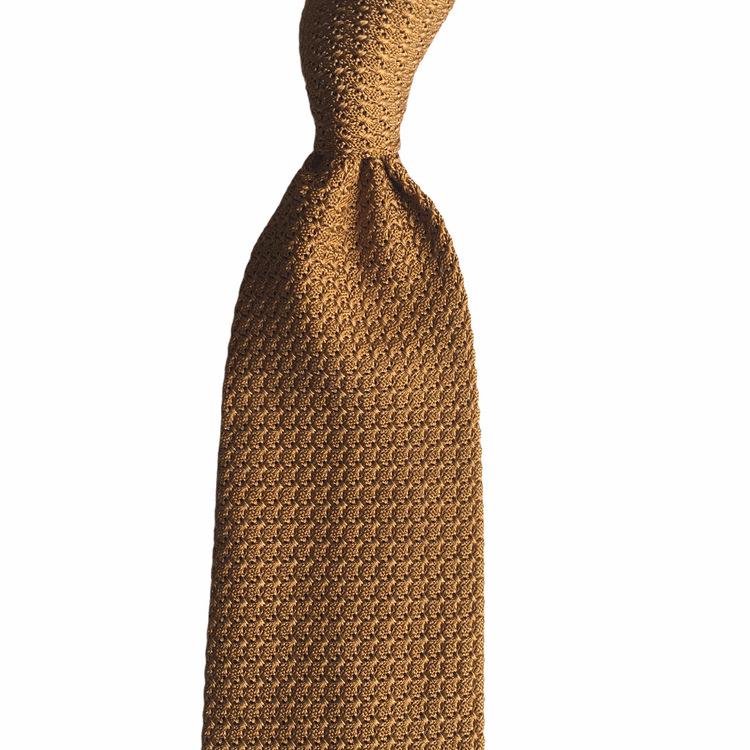 Solid Silk Grenadine Grossa Tie - Mustard