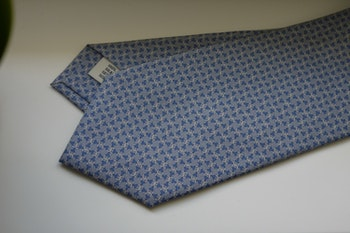 Micro Printed Silk Tie - Grey/Light Blue/White