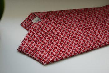 Micro Printed Silk Tie - Red/Grey