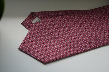 Micro Printed Silk Tie - Red/Light Blue/White