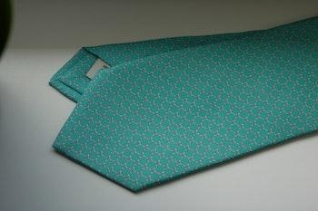Micro Printed Silk Tie - Turquoise/White