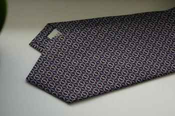 Micro Printed Silk Tie - Brown/Light Blue