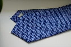 Micro Printed Silk Tie - Navy Blue/Light Blue