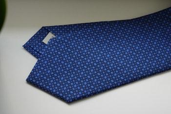 Micro Printed Silk Tie - Mid Blue/Navy Blue