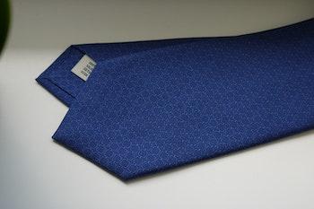Micro Printed Silk Tie - Mid Blue/Light Blue