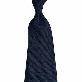 Solid Silk Grenadine Fina Tie - Black