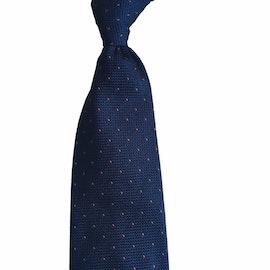 Pindot Silk Grenadine Tie - Untipped - Navy/Rust