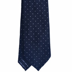 Pindot Silk Grenadine Tie - Untipped - Navy Blue/White