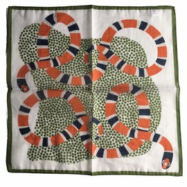 Serpent Linen/Cotton Pocket Square - Orange/Green/Off White