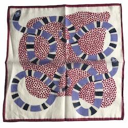 Serpent Linen/Cotton Pocket Square - Purple/Burgundy/Off White
